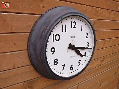 Vintage Extra Large Smiths Sectric Metal Wall Clock, 24 Inch Case. Restored
