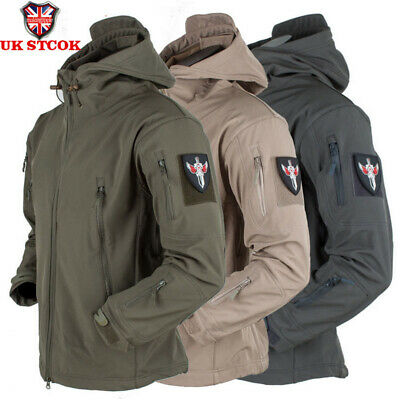 Men Waterproof Soft Shell Jacket Outdoor Tactical Winter Coat Military Jacket UK