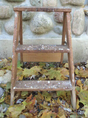 Antique shabby chippy paint wood wooden 3 step stool ladder perfect for plants