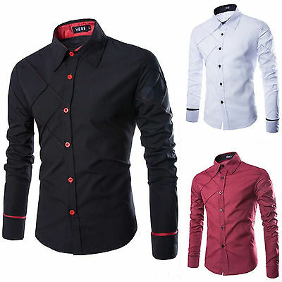 Men's Casual Button Slim Fit Shirts Long Sleeve Business Blouse Striped Tee Tops