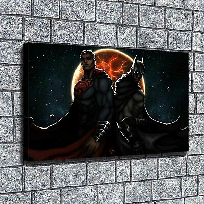 "12""x20""Superman Batman Paintings HD Print on Canvas Home Decor Wall Art Picture"