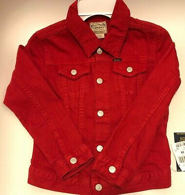 NWT Polo Ralph Lauren Little Girls Cotton Denim Trucker Jacket Red Size 6X