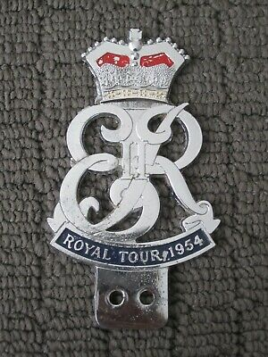 1954 Royal Tour metal car badge. Great condition. Royal family / Queen.