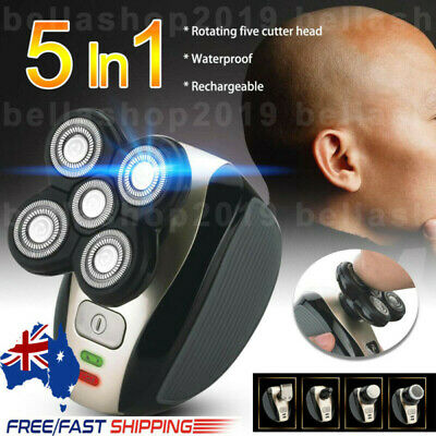 AU 5in1 Men's 4D Electric Shaver Rechargeable Cordless Bald Head Clipper Trimmer