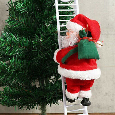 Electric Climbing Ladder Santa Claus Christmas Xmas Music Figurine Party Decor !
