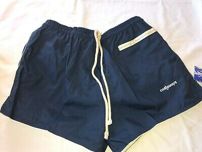 Vtg Retro NOS Castaways Mens Swim Trunks Short Springfoot Swim Suit Navy 36 38