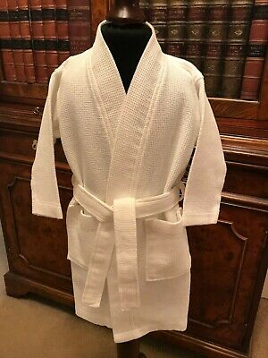 Child's White Waffle Cotton Spa Style Robe Dressing Gown - Age 2-3 Years - New