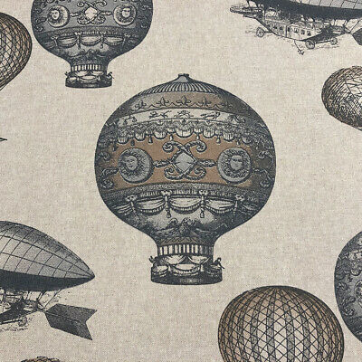 Flying High French Linen/Cotton Fabric | Hot-Air Balloon Race Zeppelin | Curtain
