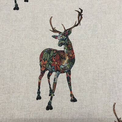 Gaea & The Stag Linen Fabric | Deer Floral Nature Voyage Style |  Curtains Blind