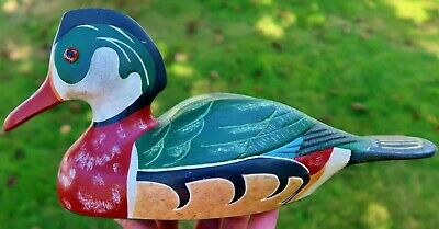 "12"" Vtg HAND CARVED Wooden DUCK DECOY, Glass Eyes - WOOD DUCK, Signed MTK 1983"