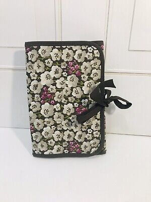 Thirty One 31 Fold-and-Go Notepad Organizer Fold It Up Tie Closure Purple Gray
