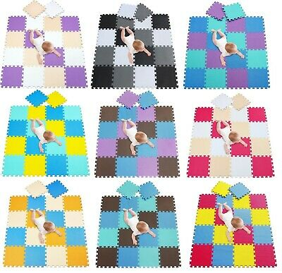 30Pieces Interlocking Eva Foam Mat Soft Floor Tiles Play Kids Baby Mats Gym Home