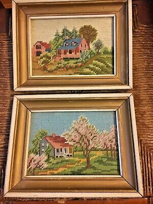 Antique Needlepoint Saltbox Farmhouse, Cottage Framed Petit Point Pictures PAIR