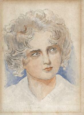 CHILD PORTRAIT Small Victorian Watercolour Painting - 19TH CENTURY