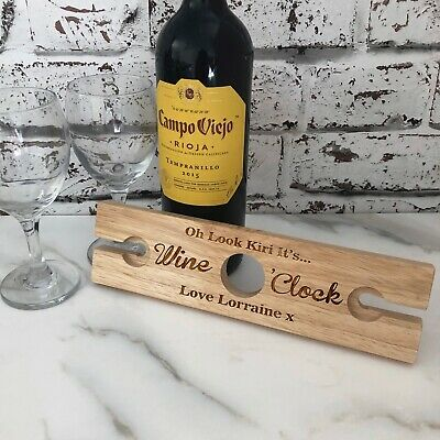 Personalised Name Wine O Clock Wooden Wine Glass & Bottle Butler Holder Gift