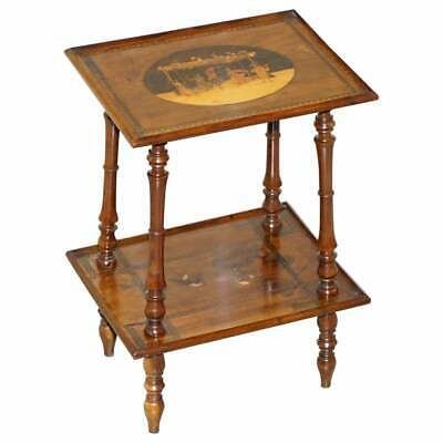 Rare 19Th Century Italian Side Lamp Table Marquetry Inlaid Dancers To The Top