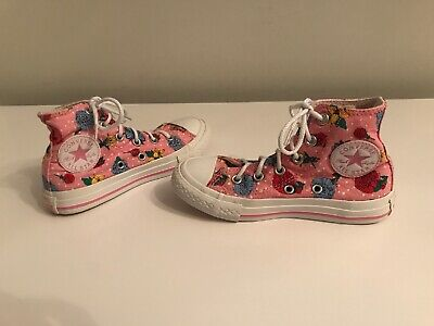 Genuine Kids Girls Childrens Pink Floral  Converse Hi Top Trainers Boot UK 11 #