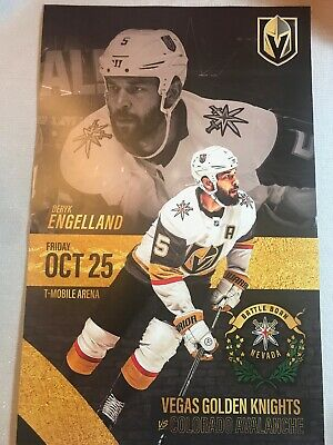 Vegas Golden Knights Deryk Engelland vs Col. Avalanche 10/25/19 Poster Program