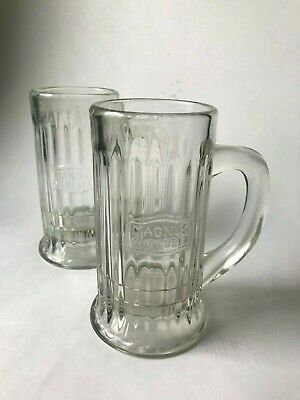 Early 1900s Two Antique Magnus Root Beer s Vintage Glass Mugs