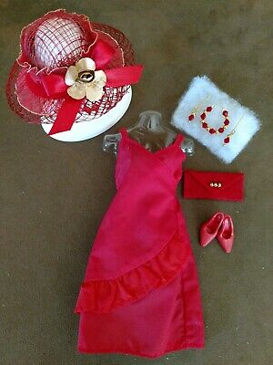 Vintage BARBIE RED SATIN RUFFLED DRESS  MINT & GORGEOUS!!!  FREE EXTRAS