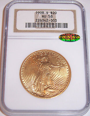 1908-S $20 St Gaudens Gold Double Eagle NGC AU58, CAC Affirmed, RARE Key Date!!!