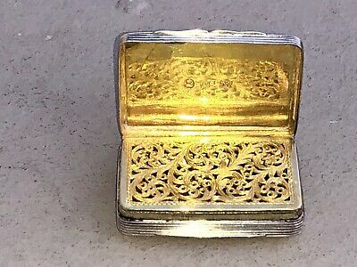 Georgian Sterling Silver Gilt Case Box Vinaigrette 1825 Birmingham Thomas Shaw