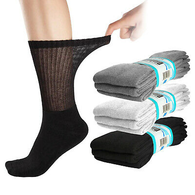 (6 Pairs) Diabetic Crew Socks Circulatory Loose Fit Mens or Womens