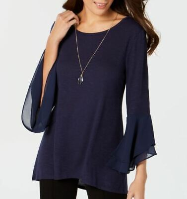 Womens JM Collection Tiered-Sleeve with Necklace Blouse  - Blue - Size: L - NWT
