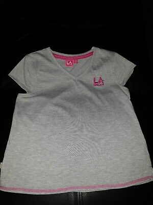 LA GEAR girls size 13 GREY SPORTS TSHIRT PINK TRIMS TOP YOGA TENNIS  ACTIVE WEAR