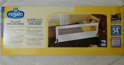 Regalo hideaway extra long sleep safe toddler bed rail with gap guard & netting.