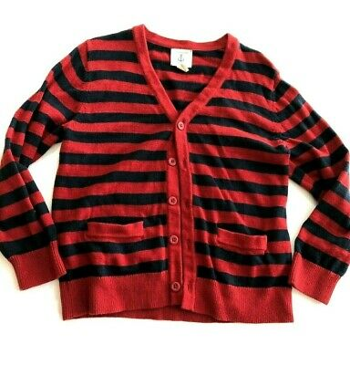 Lands End Kids Boys Cardigan Stripped Sweater Size 7 Red Blue 100% Cotton
