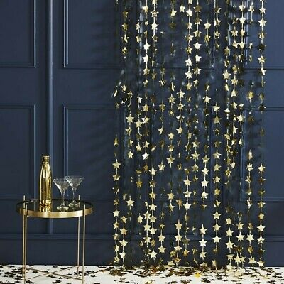 Gold Stars  Foil Curtain Wall Backdrop Party Photo Booth Xmas NYE Decoration