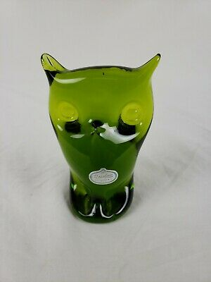 "Hand Blown GREEN GLASS OWL FIGURE PAPERWEIGHT 5"" Rainbow Huntington WV"