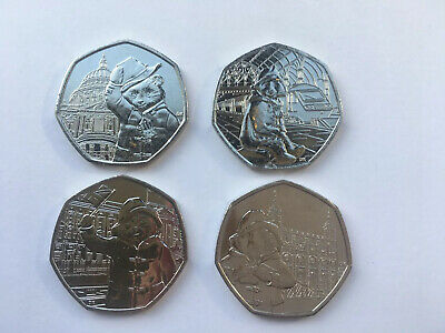 Set Of 4 Paddington Bear At Palace Station St Pauls Tower 50P Uncirculated Coins