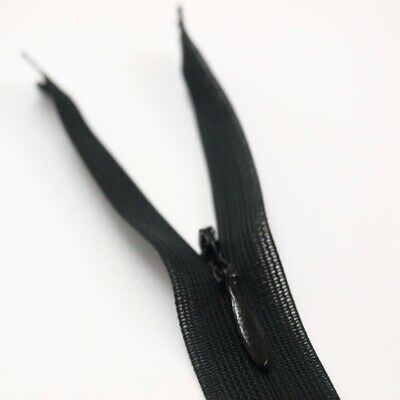 "Concealed BLACK Invisible Nylon Zips Hidden Closed End Zipper 18"" ONLY 99P!!"