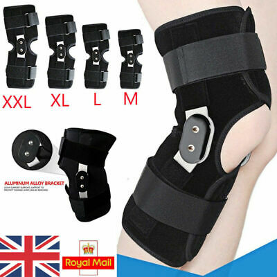 Black Aluminium Knee Double-Hinged Support Medical Breathable Open Patella Brace