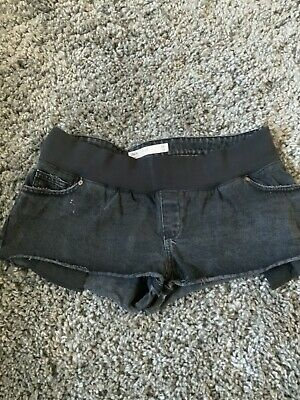 Maternity Denim Shorts Size 14 Washed Black Colour