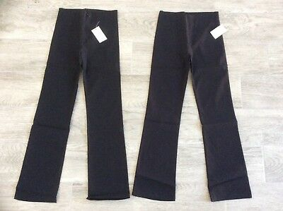 2 X Girls Domino Stretch Bootcut Trousers School / Casual Black Age 9-10 Years