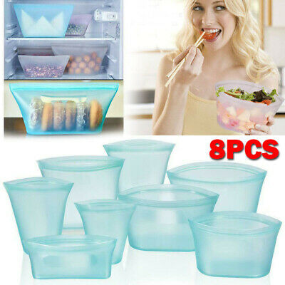 8PCS Silicone Food Storage Bags Zip Leakproof Containers Plastic-Free Reusable