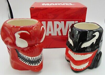 Marvel Venom and Carnage Molded Head Coffee Mugs 16 oz 1 new 1 preowned