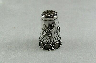 Vintage Sterling Silver 925 LMA IGUALA Mexico 1940's Collectors Floral THIMBLE