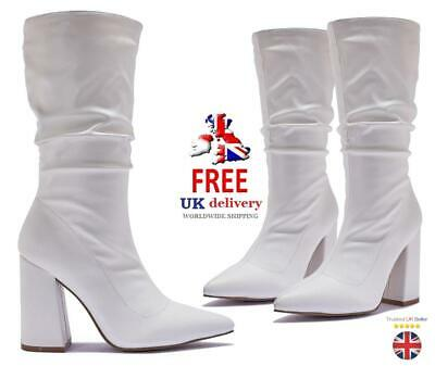 TRUFFLE Womens Ladies White PU Leather Knee High Block Heel Boots Shoes Size