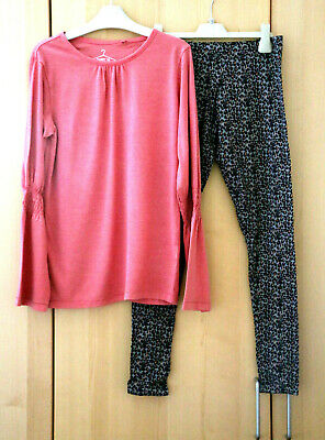 NEXT Girls Pink Long Sleeve Top & Animal Print Leggings Age 12 Years BNWT