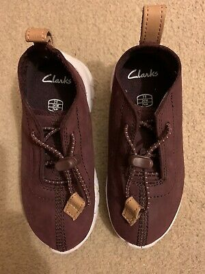 Clarks Burgandy Trainers Elastic Laces Suede Effect Size 7F