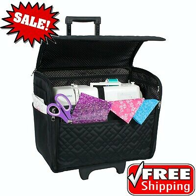New Black Rolling Tote Sewing Machine Wheeled Carrier Storage Bag Case