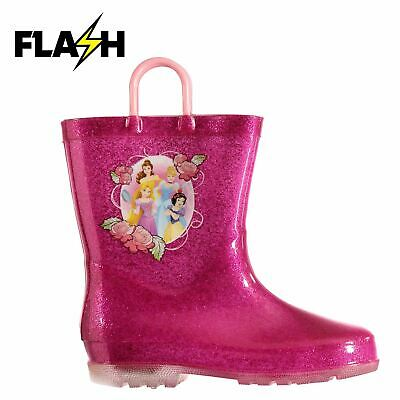 Disney Princess Light Up Wellington Boots Infants Girls Pink Wellies Gum Boot