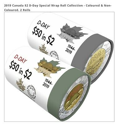 2019 Canada $2 D-Day Special Wrap Toonie Coin Roll - Coloured & Non-Coloured