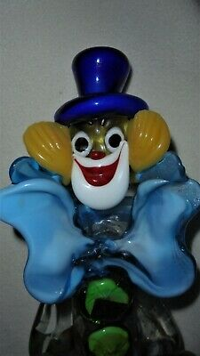 VENETIAN MURANO CLOWN GUITAR FIGURINE ART GLASS TOSCANY ITALY and ORIGINAL LABEL