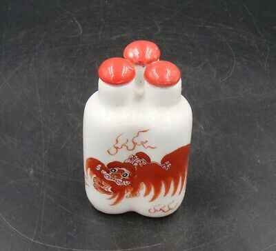 Collectible 100% Handmade Painting Porcelain Snuff Bottles 3 Connected 008