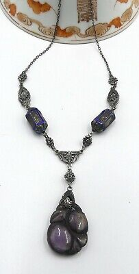 Old Chinese sterling silver chain & enamel beads carved stone pendant necklace